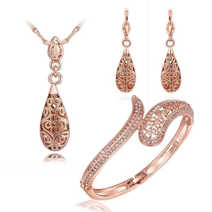 Régler bijoux Femme Or Rose parure de bijoux femme ,ensemble de bijoux femme