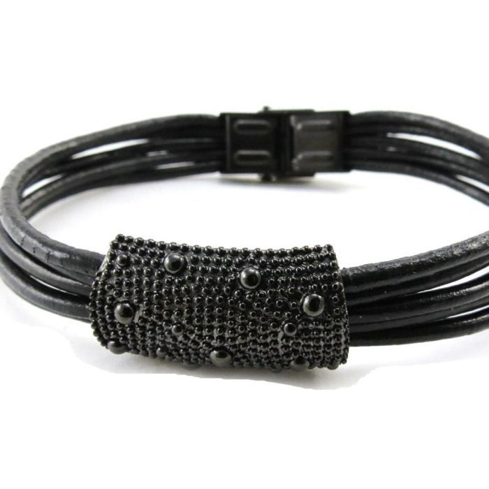 Bracelet acier Peaceful noir ruthenium