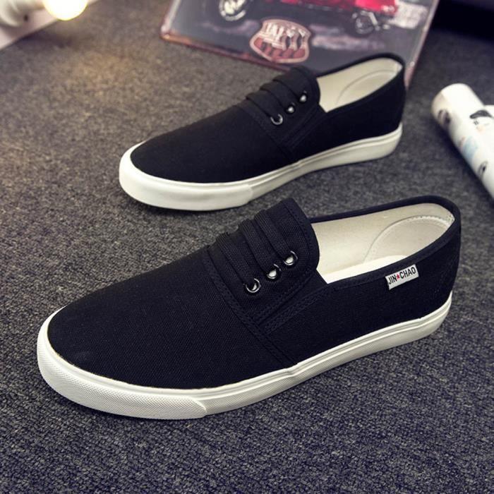 Mode pour femmes toile de sport Mocassins Sneakers Casual solides amateurs d'écrans plats Chaussures Noir PCD81204094BK Noir