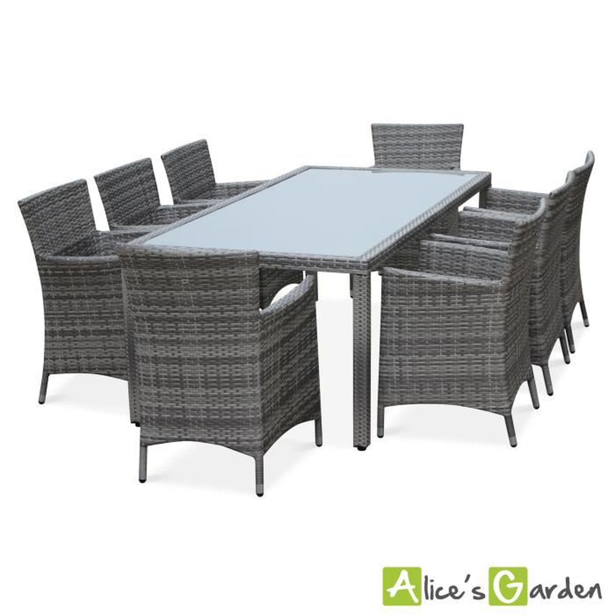 Salon de jardin en résine tressée nuances de gris, 8 fauteuils, table  200cm, structure en aluminium, coussins gris chiné