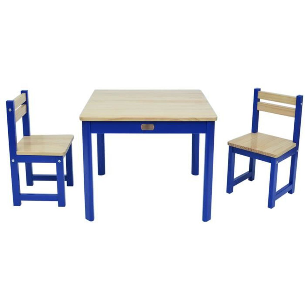 ensemble table et 2 chaises pour enfant en bois coloris bleu achat vente tour de lit b b. Black Bedroom Furniture Sets. Home Design Ideas