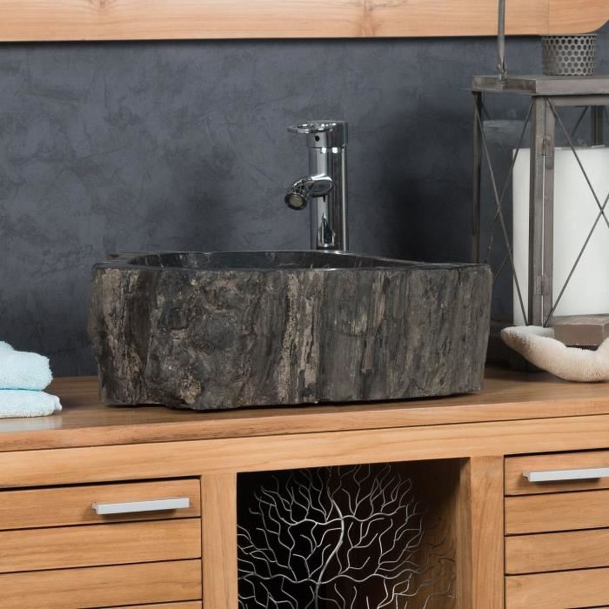 vasque de salle de bain poser en bois p trifi fossilis int rieur noir 45 cm achat vente. Black Bedroom Furniture Sets. Home Design Ideas