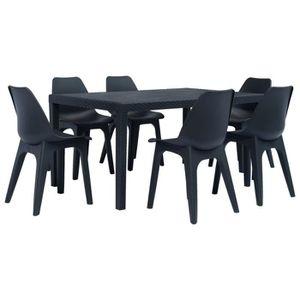 Table et chaise de jardin plastique 6 place(s) - Achat ...