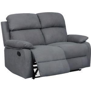 CANAPÉ - SOFA - DIVAN Canapé relax 2 places en tissu gris foncé KEATON