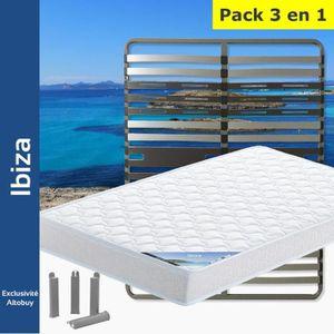 ENSEMBLE LITERIE Ibiza - Pack Matelas + AltoZone 120x190 + Pieds