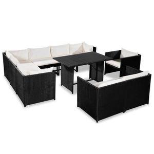Ensemble table et chaise de jardin Mobilier de jardin 31 pcs Résine tressée Noir et b
