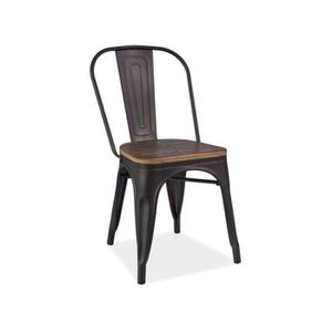 CHAISE Chaise industrielle style loft noir assise bois vi