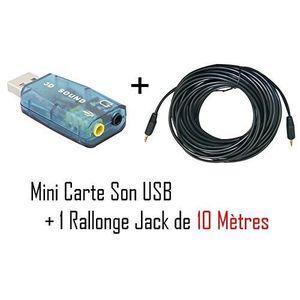 CARTE SON EXTERNE CABLING® Mini Carte Son Usb Entree/Sortie + Cor...