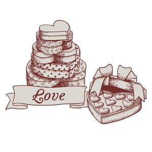 STICKERS Stickers adhésif mural Love Heart Chocolate Box -