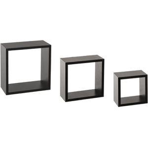 CASIER POUR MEUBLE Kit de 3 étagères murales Cube noir