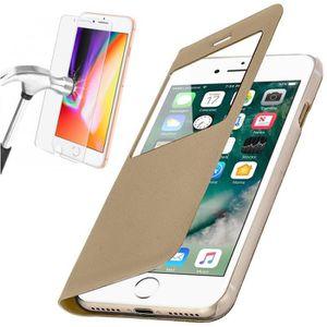 COQUE - BUMPER Coque iPhone 6-6S PLUS Rabat Clapet Fenêtre Or + V