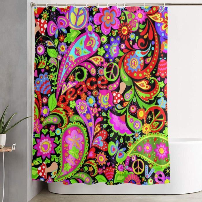Imperméable Rideau de Douche Motif Hippie Vivid Abstrait Fleurs Colorées Symbole De Paix Champignons Et Amour Paisley