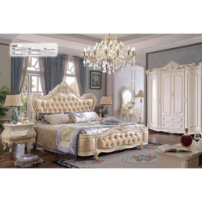 JVmoebel Eau Luxe Design Lits Chesterfield Rembourrage Lit Cuir Baroque Rokoko Neuf