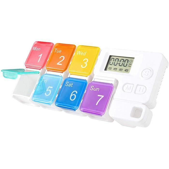 Pilulier Medicaments,Distributeur de Pilules avec Alarme,Conteneur Boîte de Médecine Détachable pour Pilules(7 Compartments)