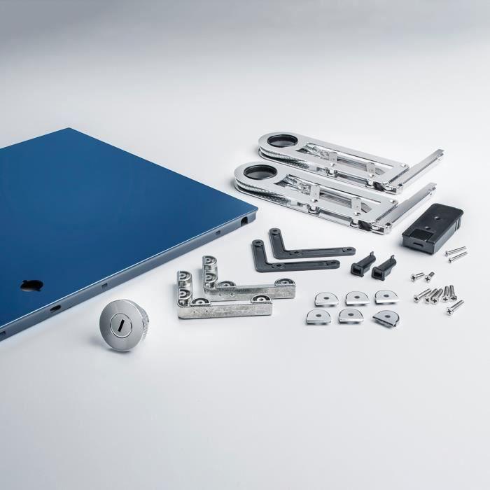 Kit complet porte abattante pour USM Haller 750x350 Acier bleu
