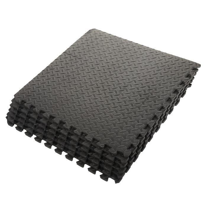 Noir Tapis pour enfants et tapis de yoga EVA 6 Pcs / ensemble Ensemble de 6 Carrées EVA (motif de feuille) Tapis mousse de sol 63 x