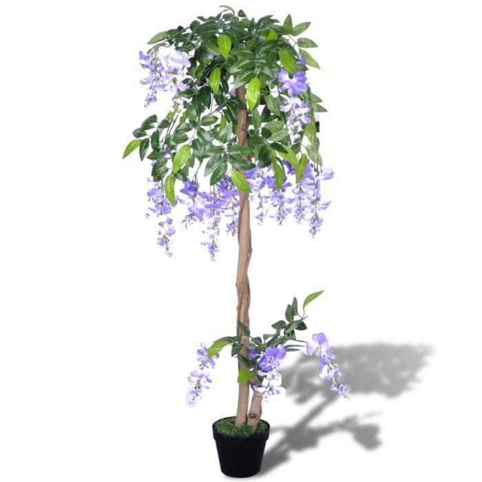 ��8259Wisteria artificiel Plante artificielle décorative 120 cm- Arbre Artificiel décoration Jardin pour Intérieur et Extérieur-FLEU