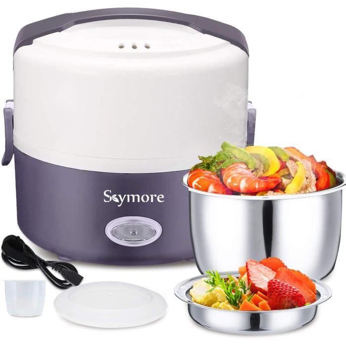 Skymore Boîte à Lunch électrique, Lunch Box Chauffante Portable,Cuiseur à Vapeur Multifonctionnel avec Bols en Acier Inoxydable, Con