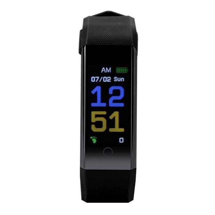 BOYOU Montre connectée Moniteur de tension artérielle de fréquence cardiaque 115P imperméable pour Android - iOS noir