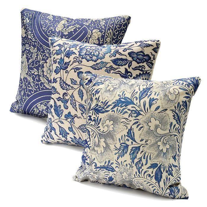 3pcs 45x45cm Taie d'Oreiller Florale Bleue Orientale en Coton Lin Bleu et Blanc Couverture en Porcelaine Vintage His05618
