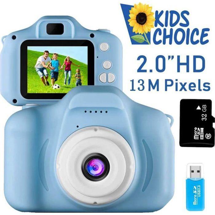 HD 1080p Appareil Photo pour Enfants Mini Caméra Numérique Rechargeable Caméscope Antichoc Photo/vidéo Bleu