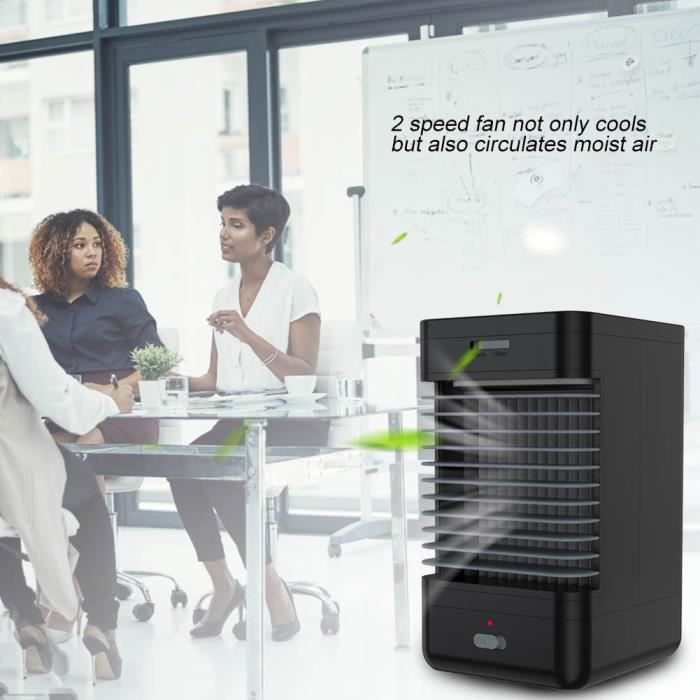 Painshop® Climatiseur portatif Mini ventilateur système d'humidificateur refroidisseur sans fil Noir