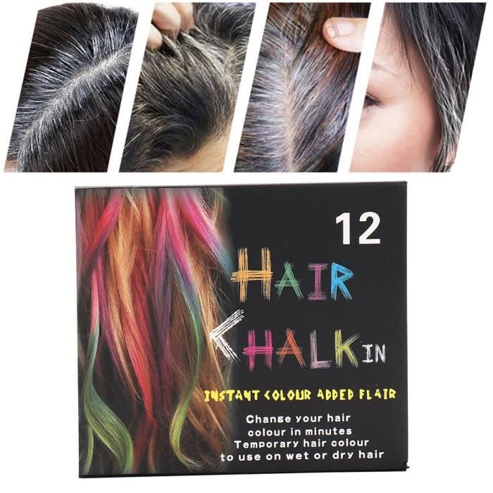 Craie de coloration des cheveux Coloration capillaire jetable craie teinture temporaire cheveux Pastel teinture bâton Kit outil de