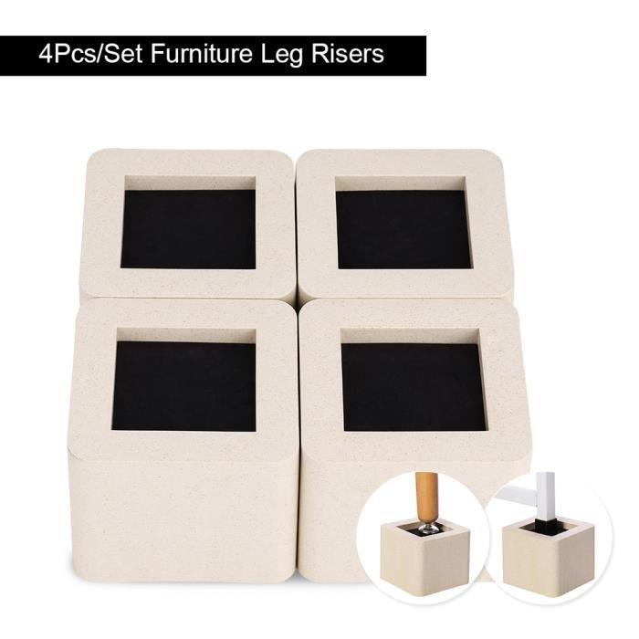 4Pcs Pied de meubles Riser de fourniture Réhausseur de meuble Lit - Table - Bureau - Canapé-Chaise HB009 -JIL