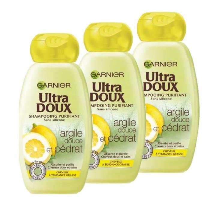 Garnier Shampoing Ultra Doux purifiant - À l'argile douce et cédrat - 250 ml (Lot de 3)
