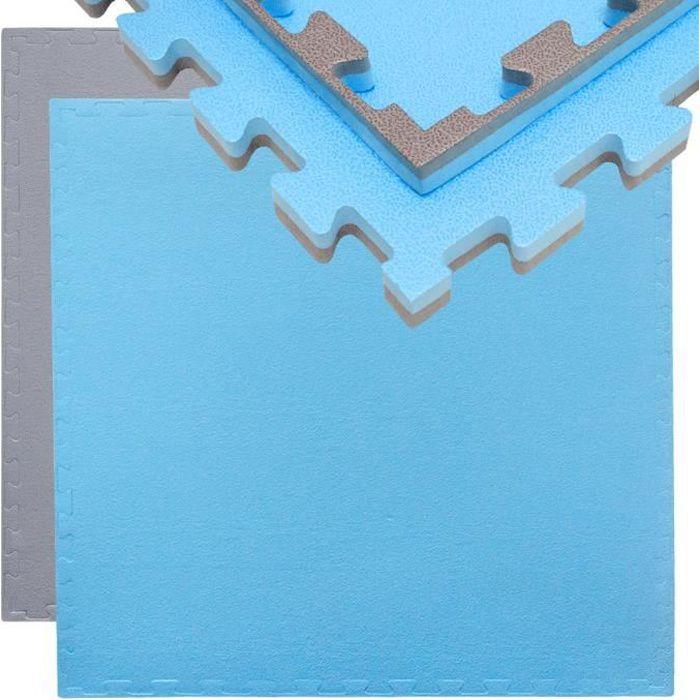 Tapis Puzzle de Fitness Protection Sol de Sport 90x90x2cm Gris Bleu
