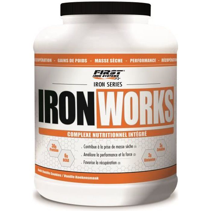 IRON WORKS 2200g VANILLE ICE CREAM First Iron System Proteine Whey Isolate WPC Carnitine BCAA Creatine (2,2kg)