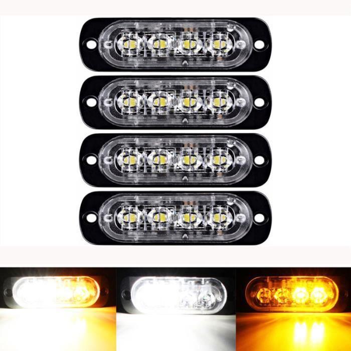 4 LED 12W Light Strobe Attention Flash Aluminium Avertissement Lampe de barre d'éclairage gyrophare aide a la conduite - securite