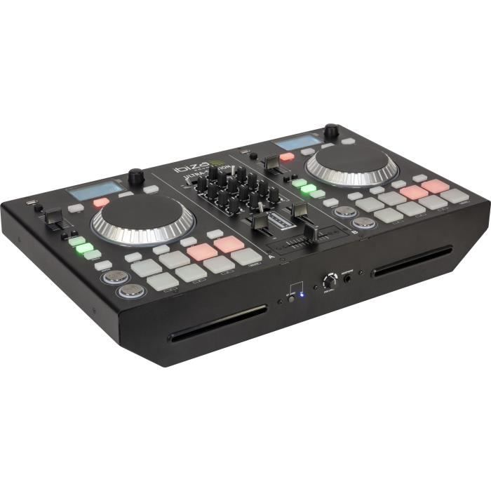 IBIZA SOUND 15-2216 - Régie DJ avec table de mixage 2 canaux, double lecteur CD & Bluetooth