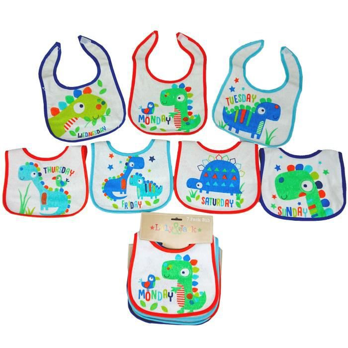 Lot de 7 bavoirs naissance pour bébé garçon thème -dino-