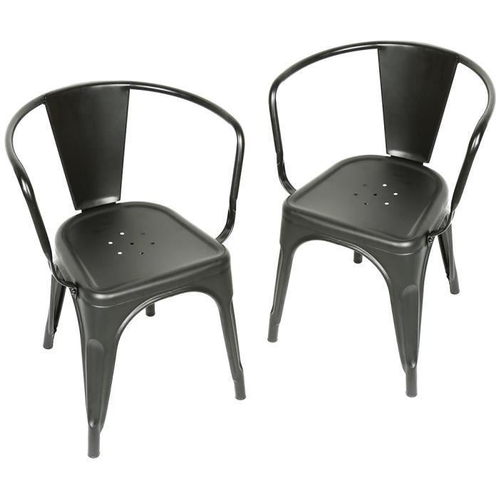 JEOBEST® Ensembles de 2 Chaises avec accoudoirs Vintage Fer Noir
