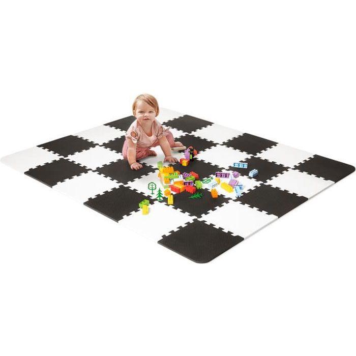 Kinderkraft LUNO, Tapis en mousse 1er age, Puzzle bébé, Noir et blanc