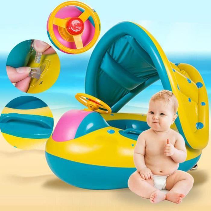 Anneaux de natation pour bébé pare-soleil réglable - Gonflable sûr pour bébé - Anneau de siège gonflable pour enfants