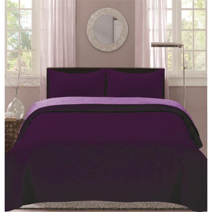 Boutis Bicolor 2 places  220 x 240 cm - Parme-Violet