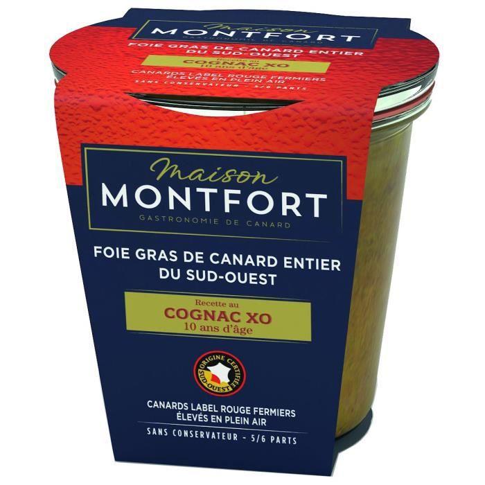 MAISON MONTFORT Foie gras de canard entier - Recette au cognac XO 10 ans d'âge - 180 g