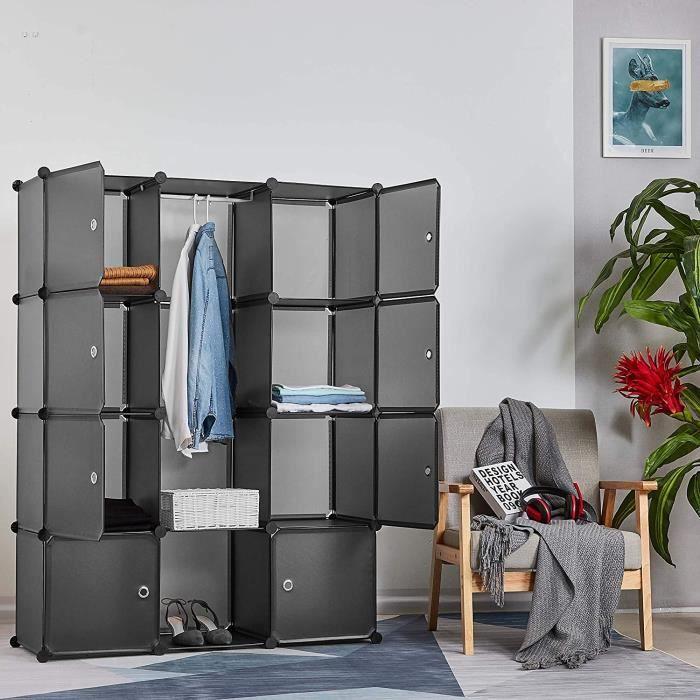 Armoire Penderie Portable Étagère de Rangement Cubes de Stockage Modulaire - Vêtements - Accessoires - 12 cubes - Gris - Meerveil