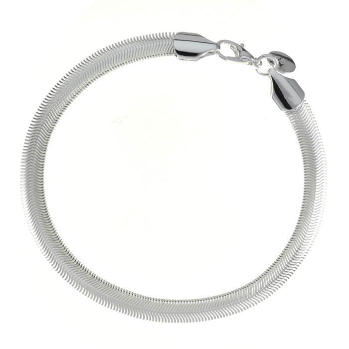 Bracelet chaîne et gourmette Argenté argent sterling 925/00 Bijou fantaisie haut de gamme Femme Blanc Chaîne wz-B0441