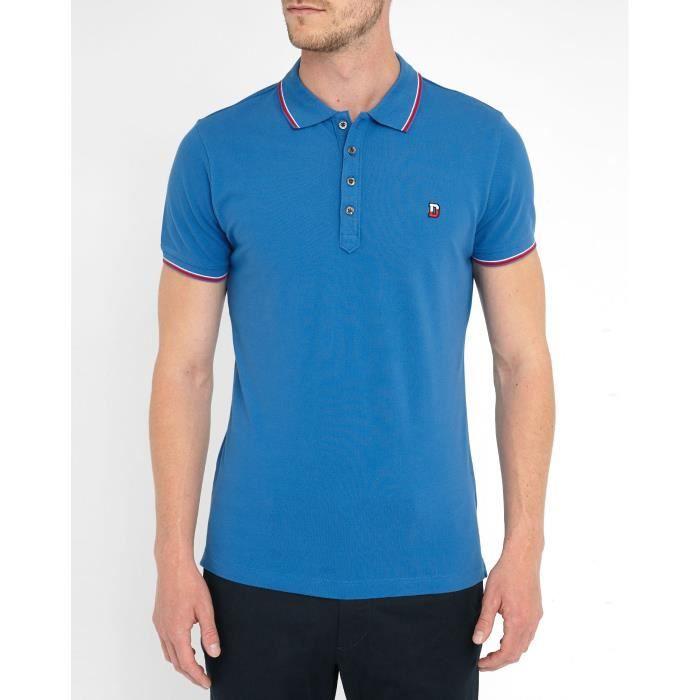 Polos Bleu Roi Liseret Col Bicolore Rouge et Blanc T-Skin pour homme
