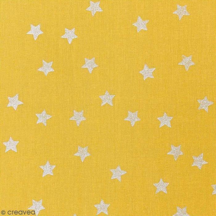 Tissu Rico - Etoiles argentées - Fond moutarde - Coton - Par 10 cm (sur mesure)