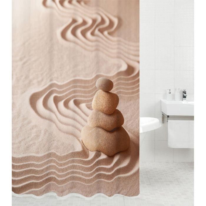 Rideau de douche Zen 180 x 200 cm - de haute qualité - 12 anneaux inclus - imperméable - effet anti-moisissures