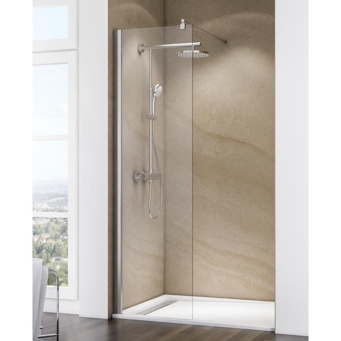 Paroi de douche fixe à l'italienne 60x200 cm, Walk In Free, verre transparent, profilé aspect chromé, Schulte