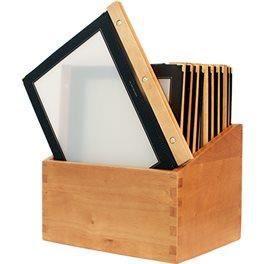 20 protège menus bois A4 noirs + boîte