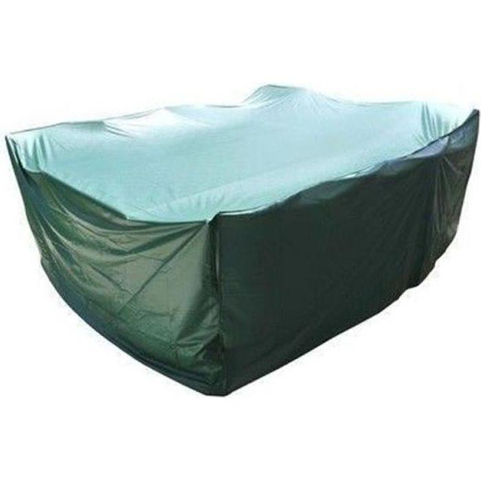 Housse salon de jardin PVC rectangulaire 250x200x90 cm avec oeillets - couleur verte - haute résistance