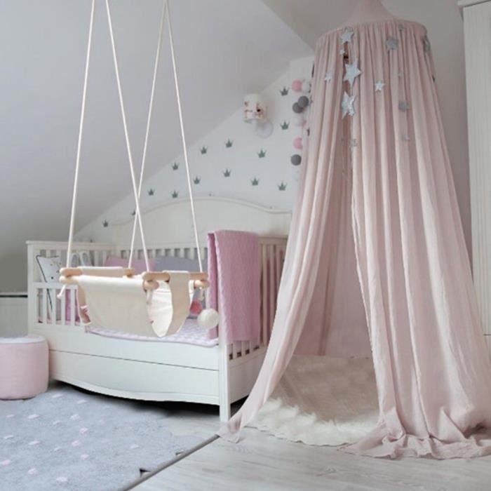 TEMPSA 2.4m Tente de lit enfant Tente de Jeu Ciel Rond De Lit Moustiquaire Canopée Baldaquin