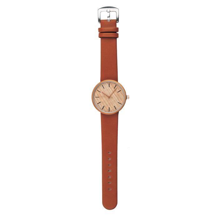 Tesoro montre pour homme en bois brun clair de 4.5 cm