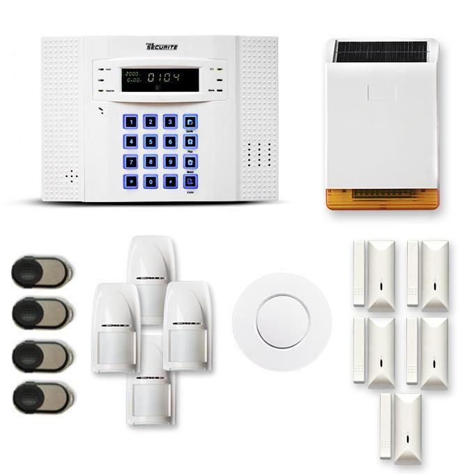Alarme maison sans fil DNB 4 à 5 pièces mouvement + intrusion + détecteur de fumée + sirène extérieure solaire - Compatible Box inte